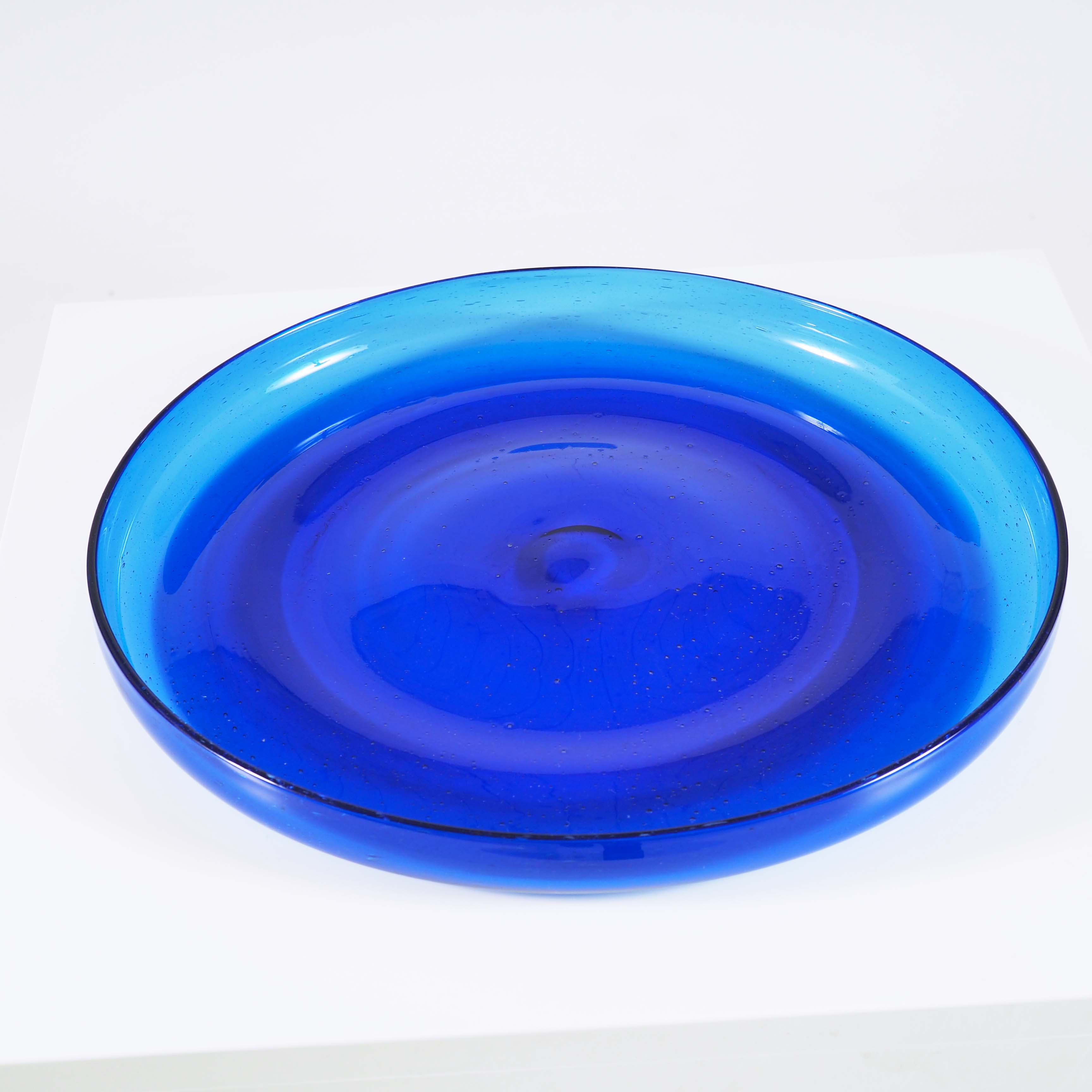 Blue glass tray by Erik Höglund, Boda, Sweden