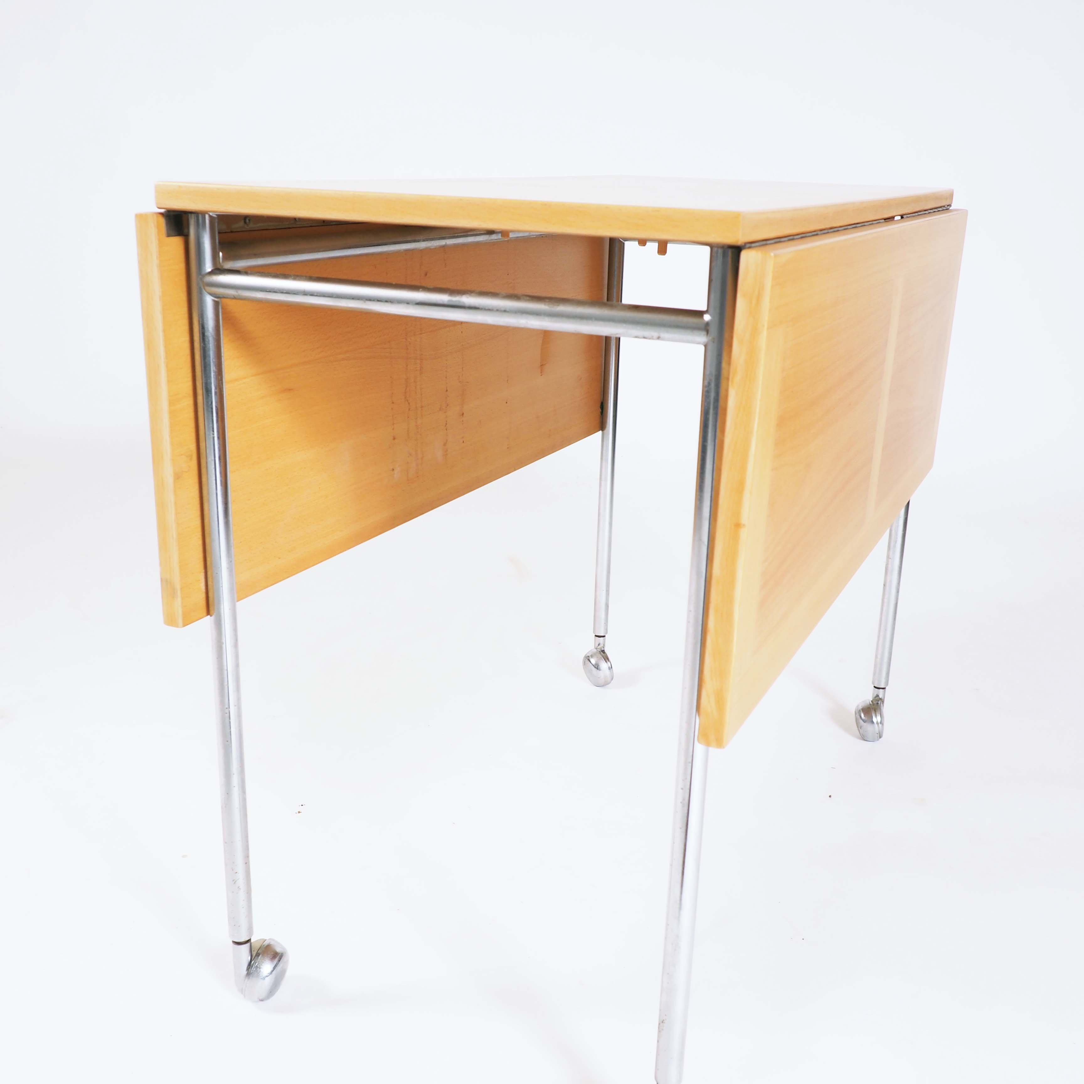 Trolley in beech and chrome, designed by Bruno Mathsson, Sweden
