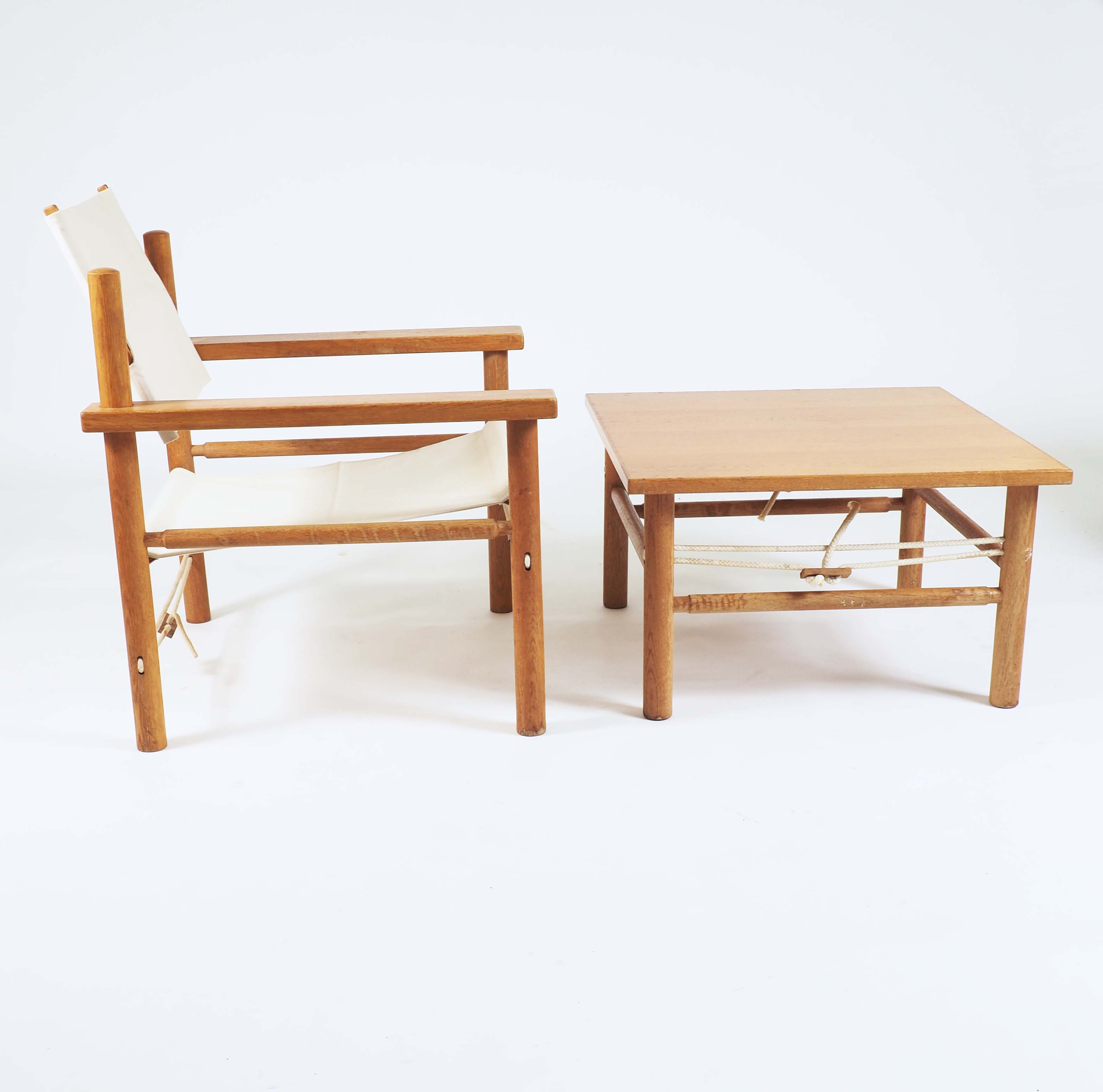 Danish Safari chair with table