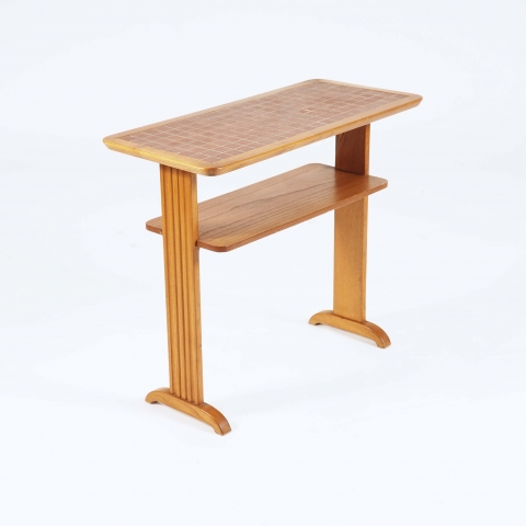 "Side Table in Elm and ""Bosaik"" by Otto Schulz, Boet"