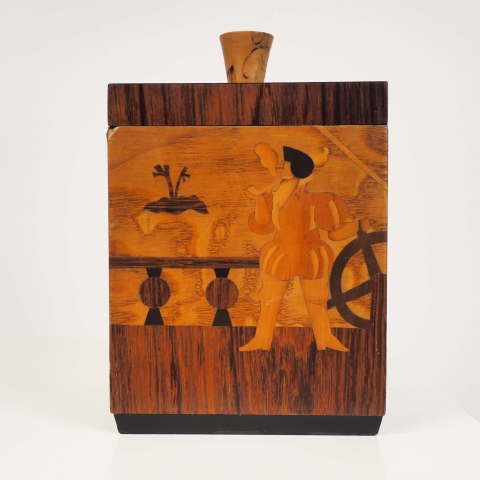 "Tobacco box, ""Columbus"" in inlaid wood by Birger Ekman, Mjölby Intarsia, Sweden"