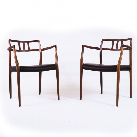 Model 64, Niels O. Møller Armchairs in Rosewood, Produced by J.L. Møller