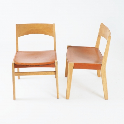 Dining chairs in oak and leather by John Vedel-Rieper